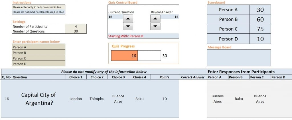 Excel Quiz Template Free - Screenshot