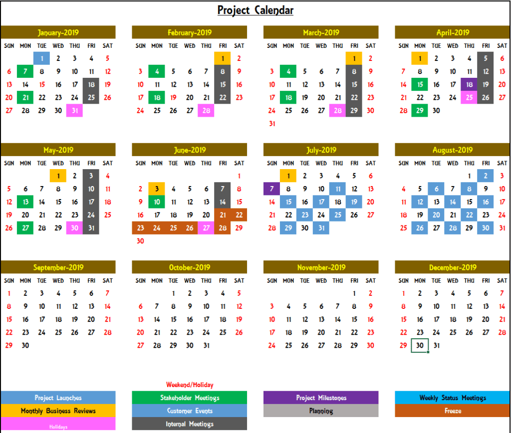 Excel Calendar Template 2019 - Yearly Calendar Design