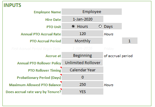 Pto Balance Calculator Employee Pto Tracker Excel Template Vacation Tracker