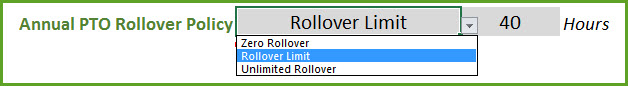 PTO Rollover Policy Settings - Zero Rollover, Rollover Limit, Unlimited Rollover
