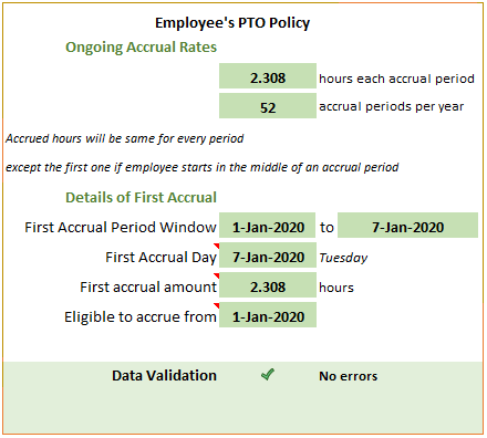Weekly PTO Accrual Example - Review Policy