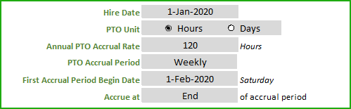 Weekly PTO Accrual Example Inputs for Template