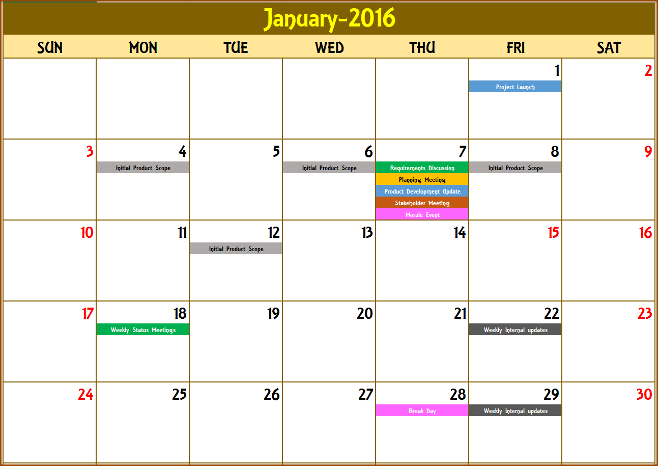 Design Calendar Of Events : Excel calendar template or any