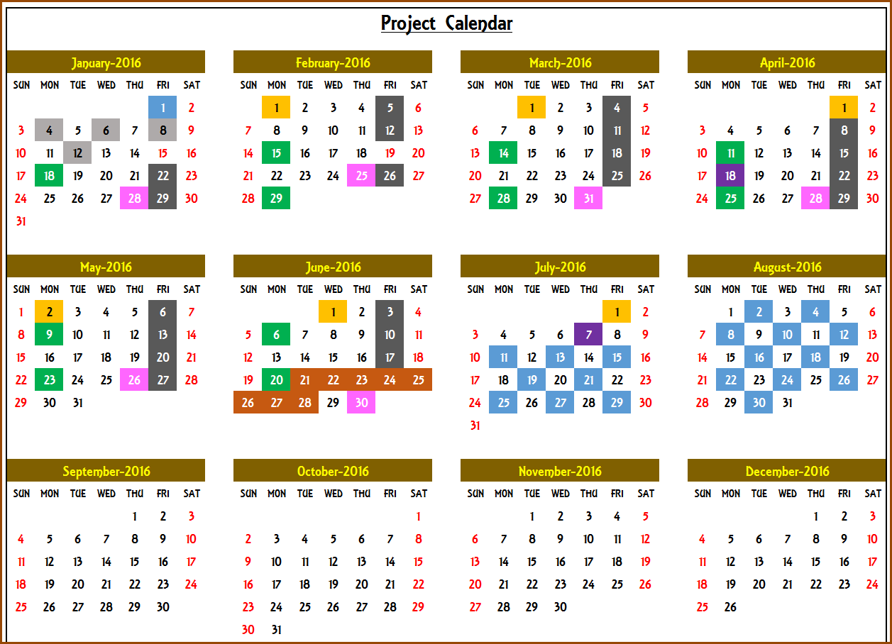 Calendar Monthly Events : Excel calendar template or any