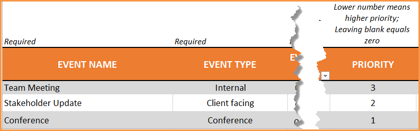 Event Calendar Maker Excel Template - Priority