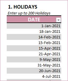 Enter Holidays