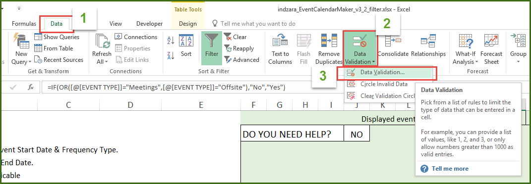 Event Calendar Maker - Excel Template - Data Validation