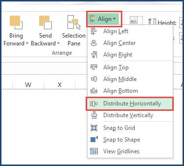 Distribute Horizontally in Align Menu