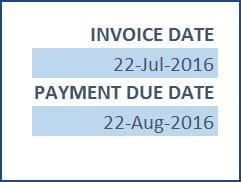 Enter Invoice Date and Payment Due Date