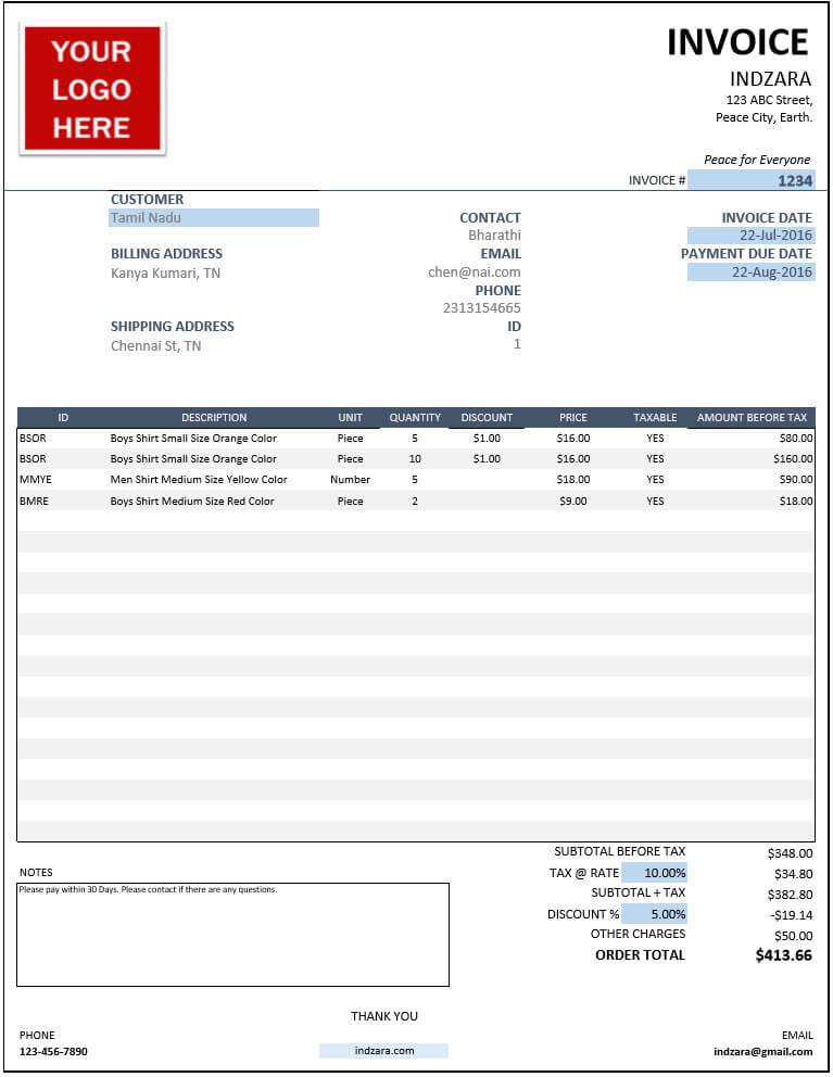 Excel Templates For Small Business Inventory Orders Invoices - Invoice template excel