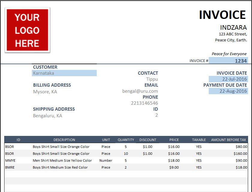 Nice Free Excel Invoice Template U2013 Create Invoices For Small Businesses  Create A Invoice Free