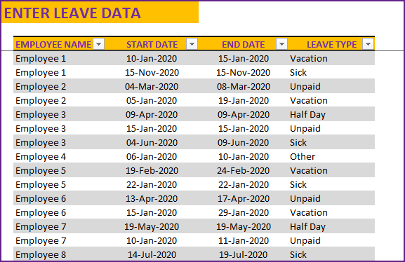 Enter Employee Leave Data – Employee Name, Leave Start Date, Leave End Date and Leave Type