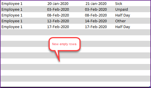 New Empty rows in Leave Table