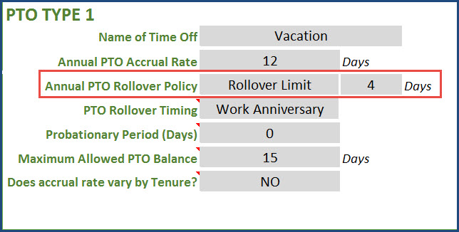 Annual PTO Rollover Policy - Rollover Limit of 4 days