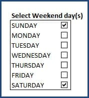 Settings - Select Weekends to exclude from working days