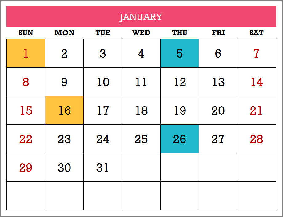 Monthly Calendar Sample From 2017 Excel Calendar Template