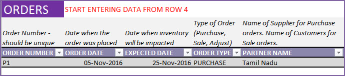 Entering a purchase order in Order Headers sheet