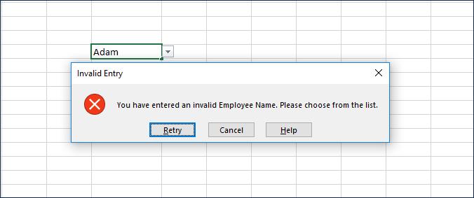 Sample Optional Error Alert Message