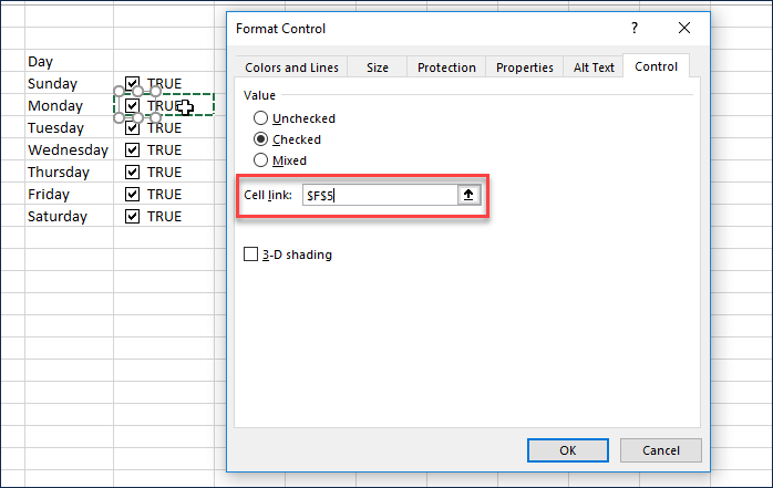 Change cell link in all the checkboxes