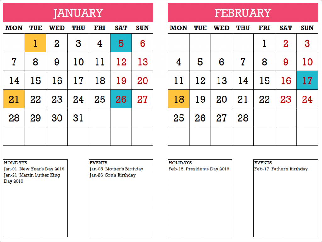 2019 Calendar Design 10 – 6 Pages – with Events