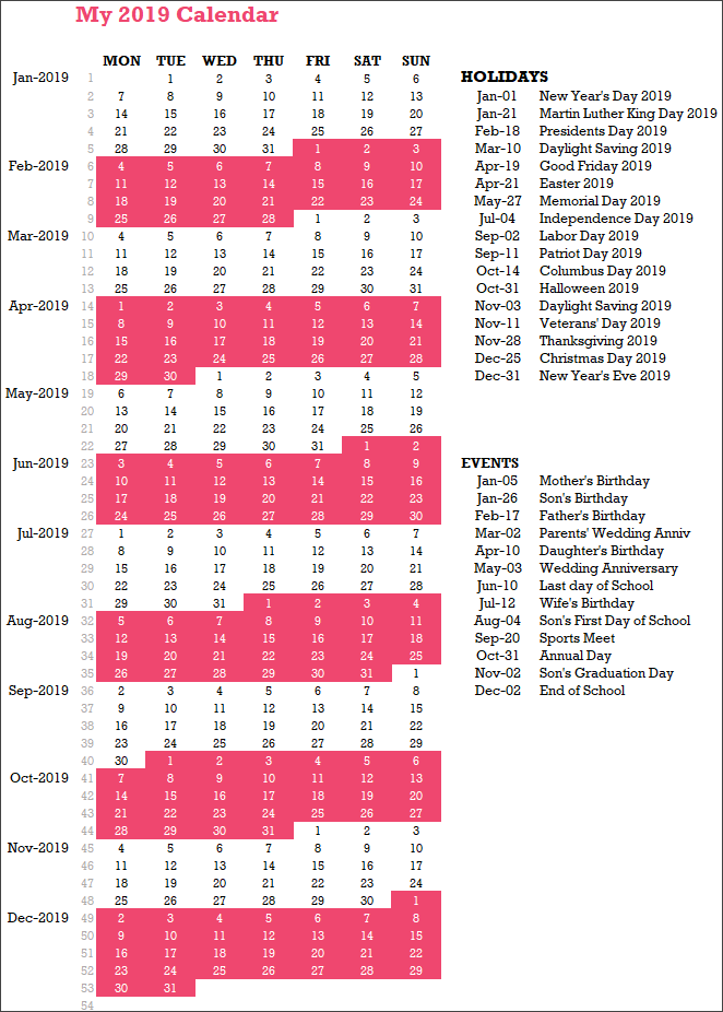 2019 Calendar Design 8 – 1 Page – 54 Weeks – with Events