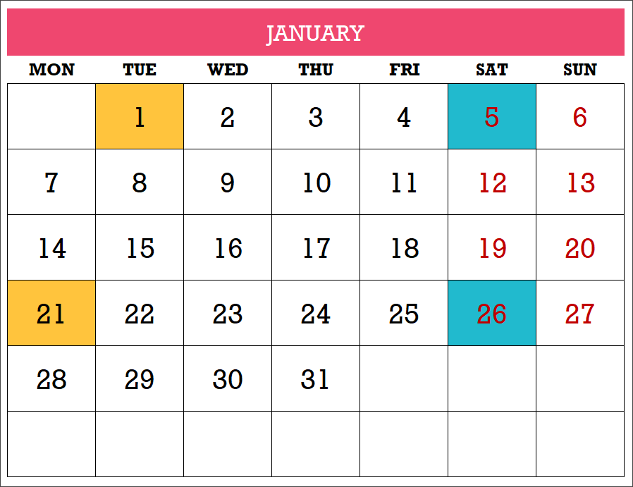 image regarding Two Page Monthly Calendar Template called 2019 Excel Calendar Template - Totally free - 19 Calendar Plans