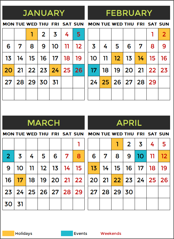 2020 Calendar Design 12 – 3 Pages with Events