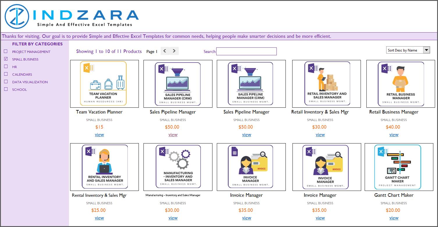Small Business Catalog Excel Template - Screenshot