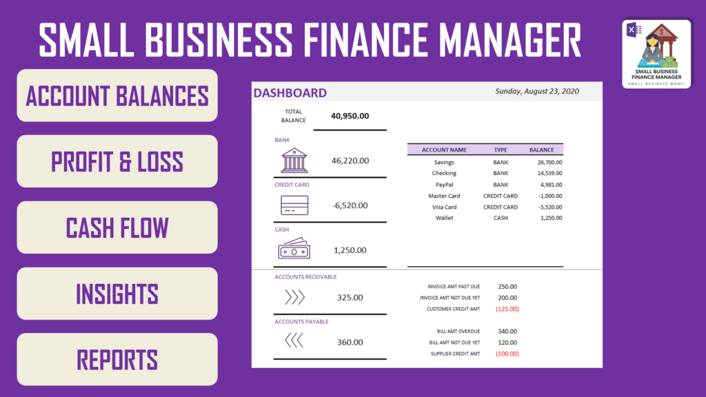 Small Business Finance Manager Excel Template - Highlights
