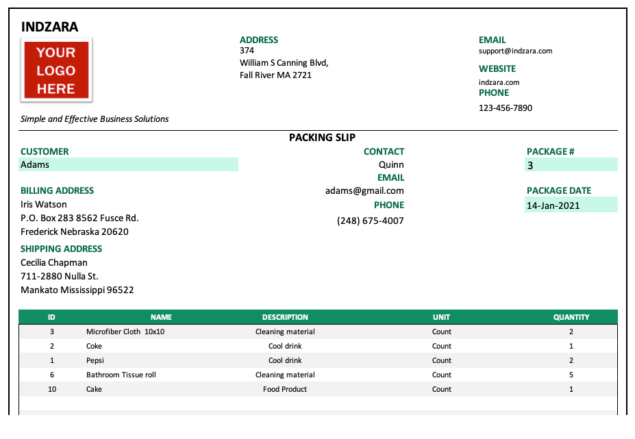 Customize fields in Packing slip